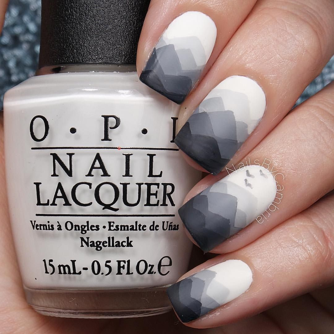 """NailsByCambria on Instagram: """"Taking a quick break from the Back To School nails tutorials to break things up. These misty mountain nails were 100% inspired by the nail queen, Tam @ohmygoshpolish. This was a view I saw quite a lot on my trip last week! Tutorial will be up soon! I used: @opi_products Alpine Snow and Matte Top Coat Black and white acrylic paint @bornprettyreview Nail art brushes All polishes are from @hbbeautybarUse my code ✨nailsbycambria✨ for 15% off on hbbbeautybar.com!"""""""