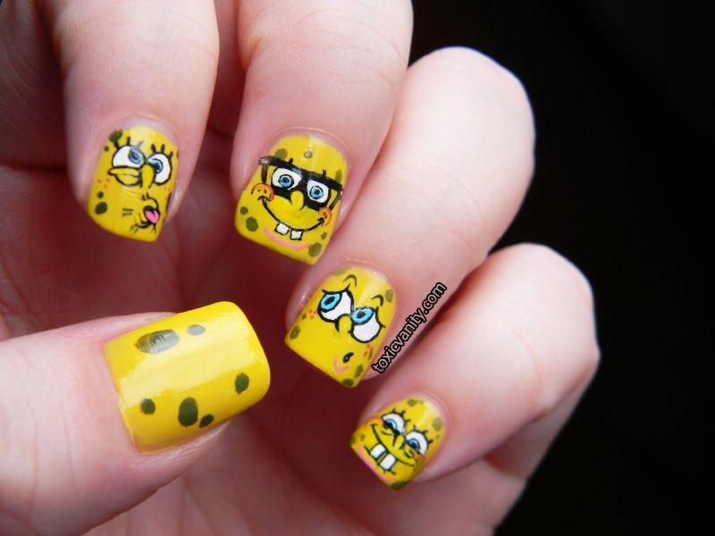 Toxic Vanity: Día 3 : Amarillo / Bob Esponja nail art | unas ...