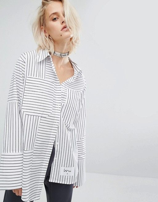 Perfect multi stripes asymetric shirt paired with boyfriend jeans