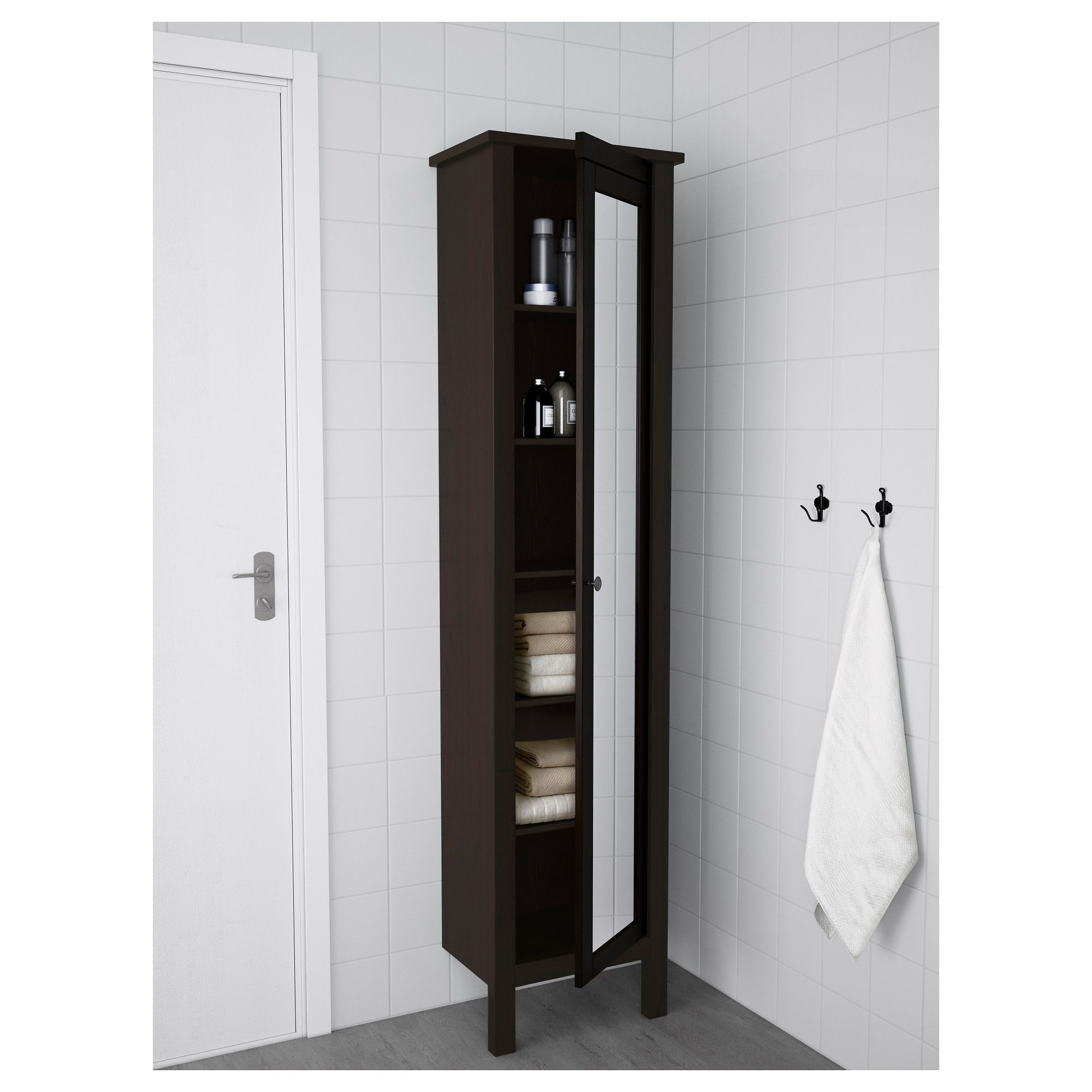 ikea hemnes high cabinet with mirror door black brown stain rh pinterest com