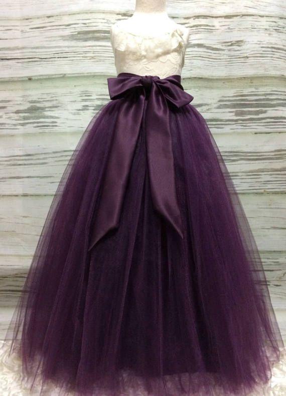 Custom Made Girls Eggplant Plum Floor Length Tulle Skirt With Tulle Skirt Flower Girl Dresses Eggplant Dress
