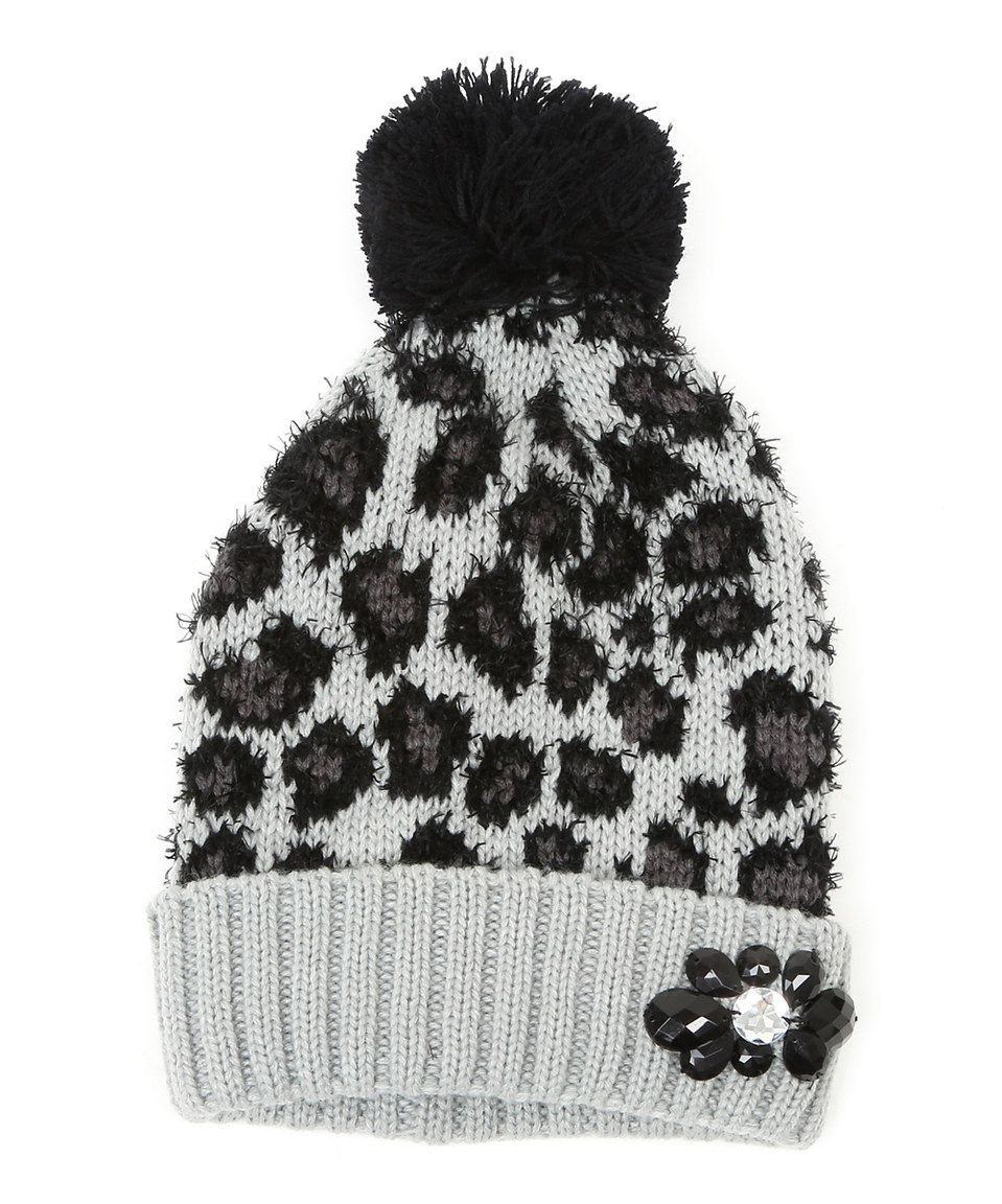 66948a20c30 This Gray Leopard Pretty Kitty Pom-Pom Beanie by Betsey Johnson is perfect!   zulilyfinds