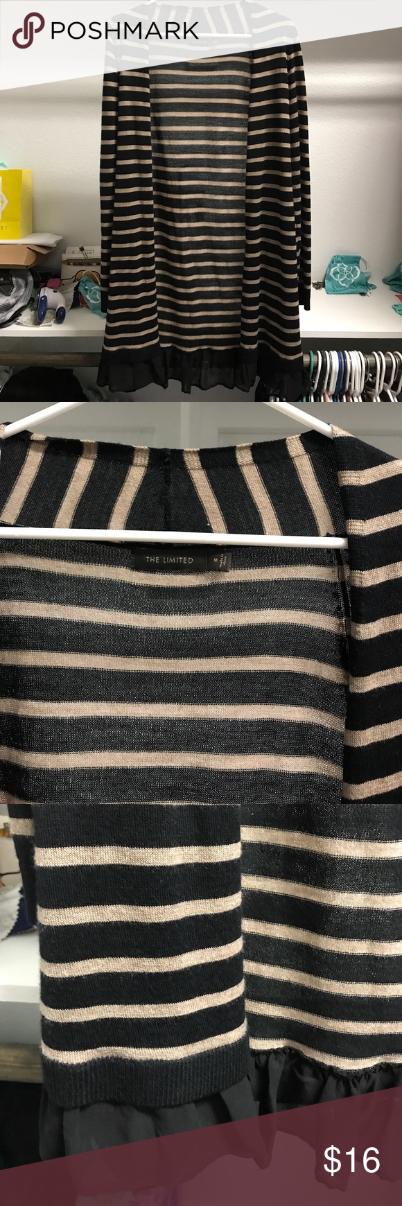 Gold and black striped cardigan | Striped cardigan, Open front ...