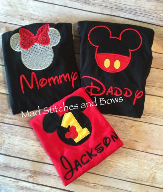 Bordadas Camiseta Mickey Mouse Cumpleanos Con Mama Y Papa Ropa