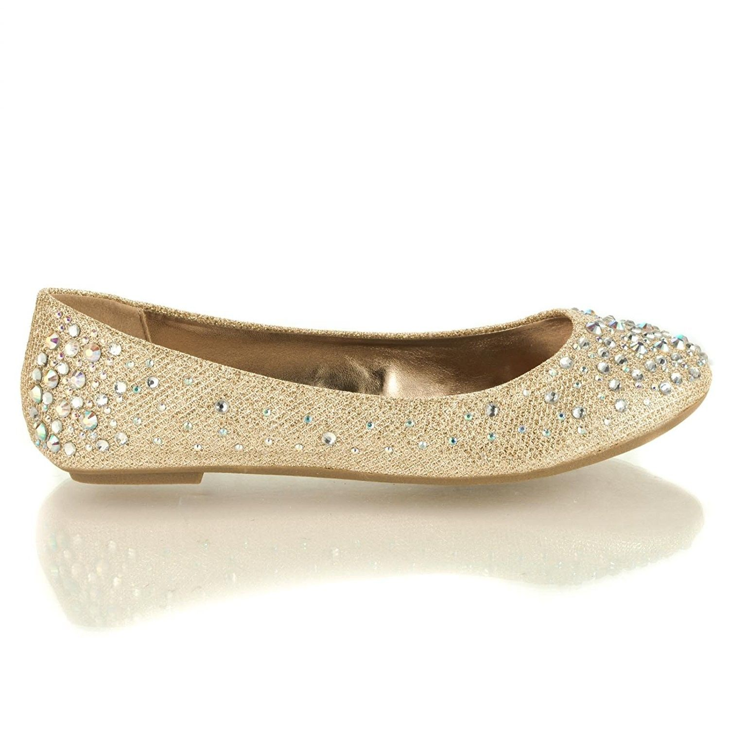 95018f794b53d4 Women s Round Toe Ballet Flats with Iridescent Rhinestone Studs on ...