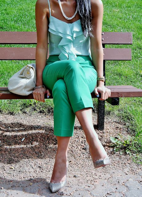 Turquoise cami paired with green crop pants and sparkly louboutin sling backs. Simple accessories to really accentuate the colours. #fashion #outfitoftheday #louboutin #green #slingbacks #marcjacobs #pearls #jewelry