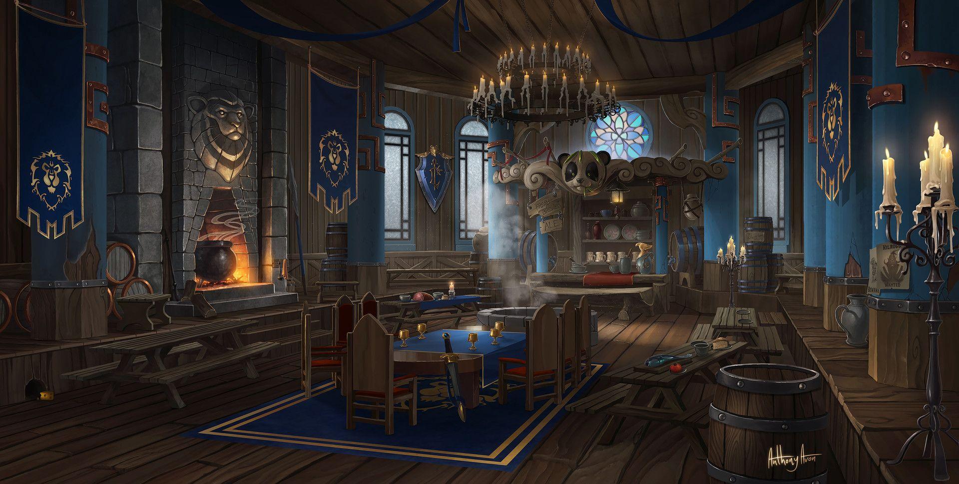 Artstation The Alliance Tavern Pandaren S Pub Anthony Avon Fantasy Rooms Fantasy Concept Art Anime Backgrounds Wallpapers