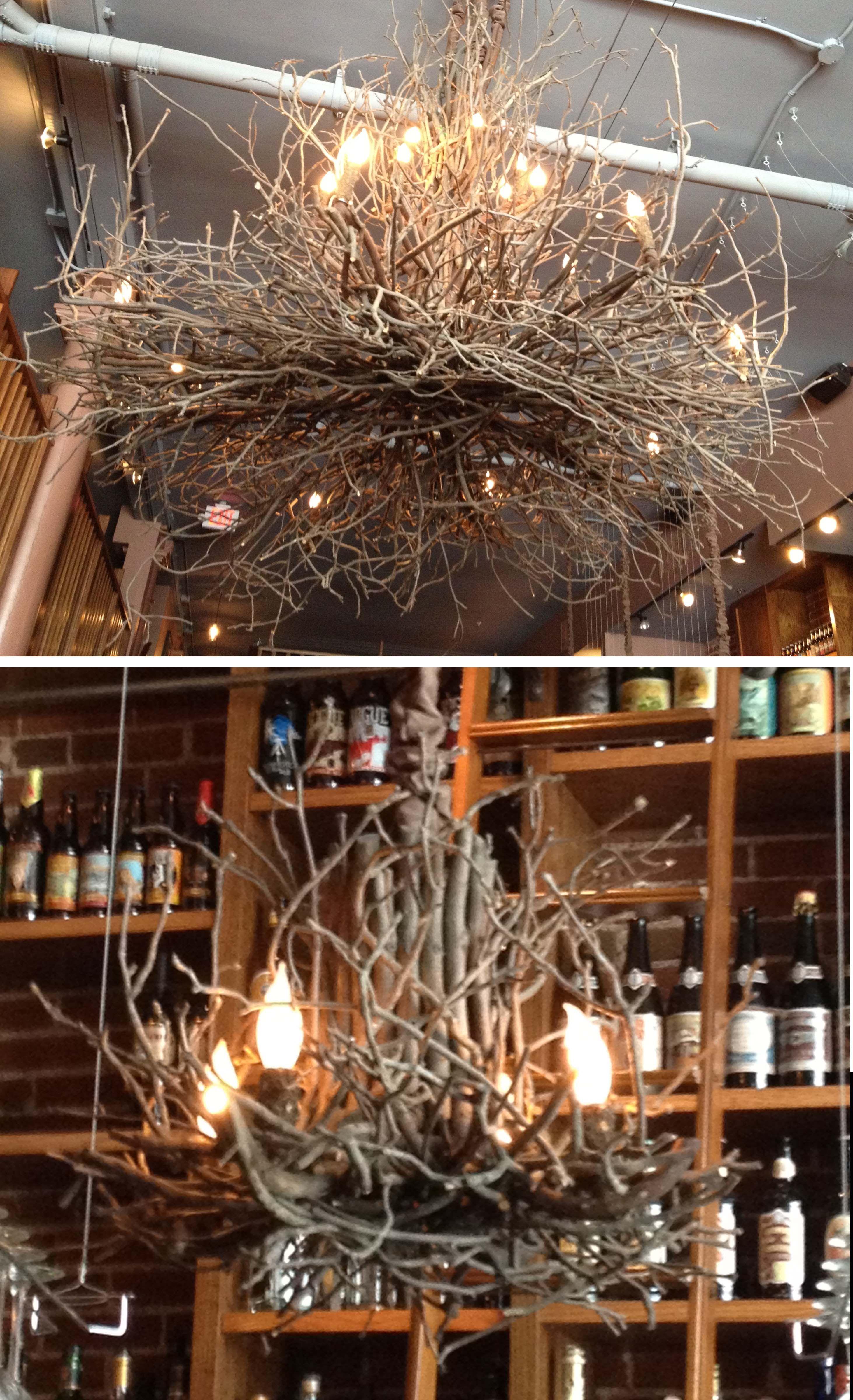 Bridge Tap House Wine Bar St Louis Missouri Homemade Chandelier Branch Chandelier Twig Lights