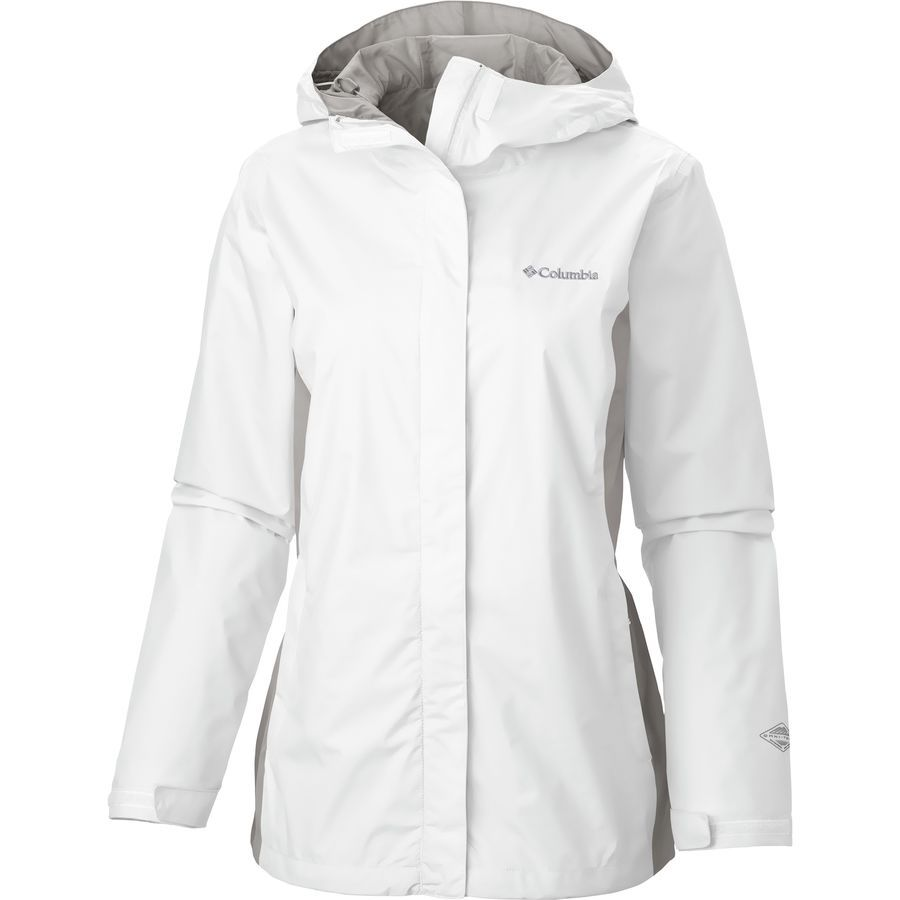 Plus Size Columbia Grey Skies Waterproof Jacket White Flint Gray