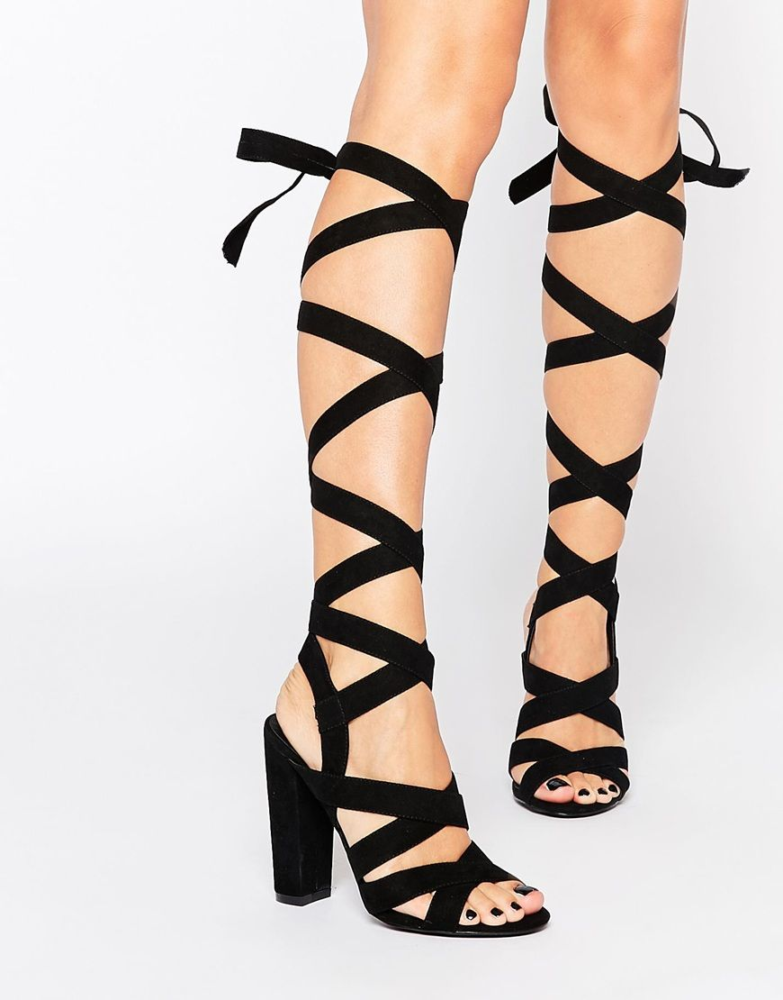 Black sandals missguided - Missguided Wrap Detail Block Heeled Sandals