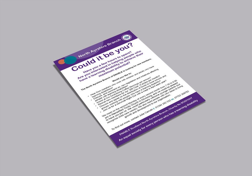 ENABLE NORTH AYRSHIRE \u2013 Flyer and leaflet designs for ENABLE North