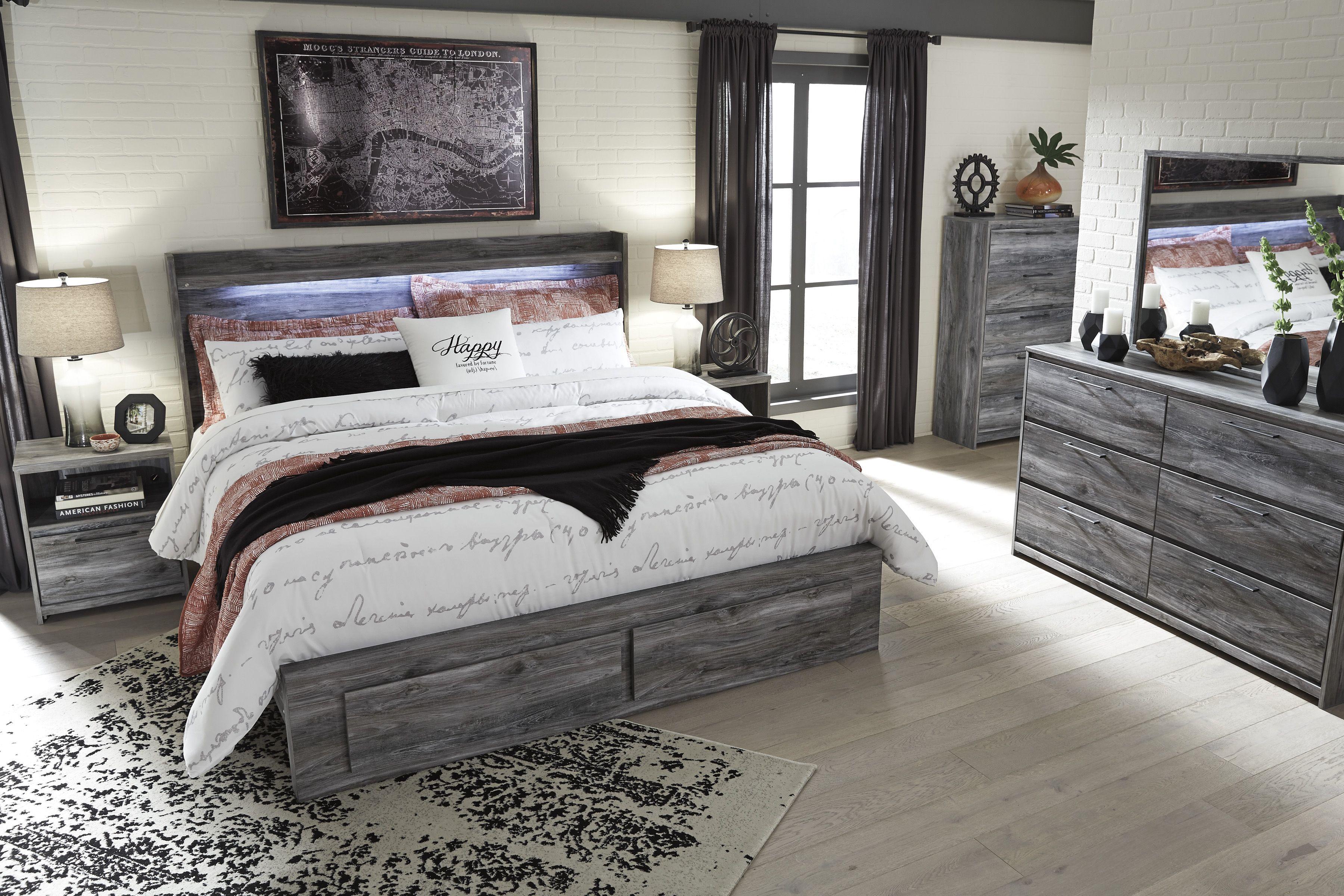 Baystorm gray 4 piece king storage panel bedroom set