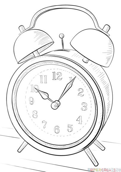 How To Draw An Alarm Clock Step By Step Drawing Tutorials For Kids And Beginners Clock Drawings Drawing Tutorials For Kids Alarm Clock