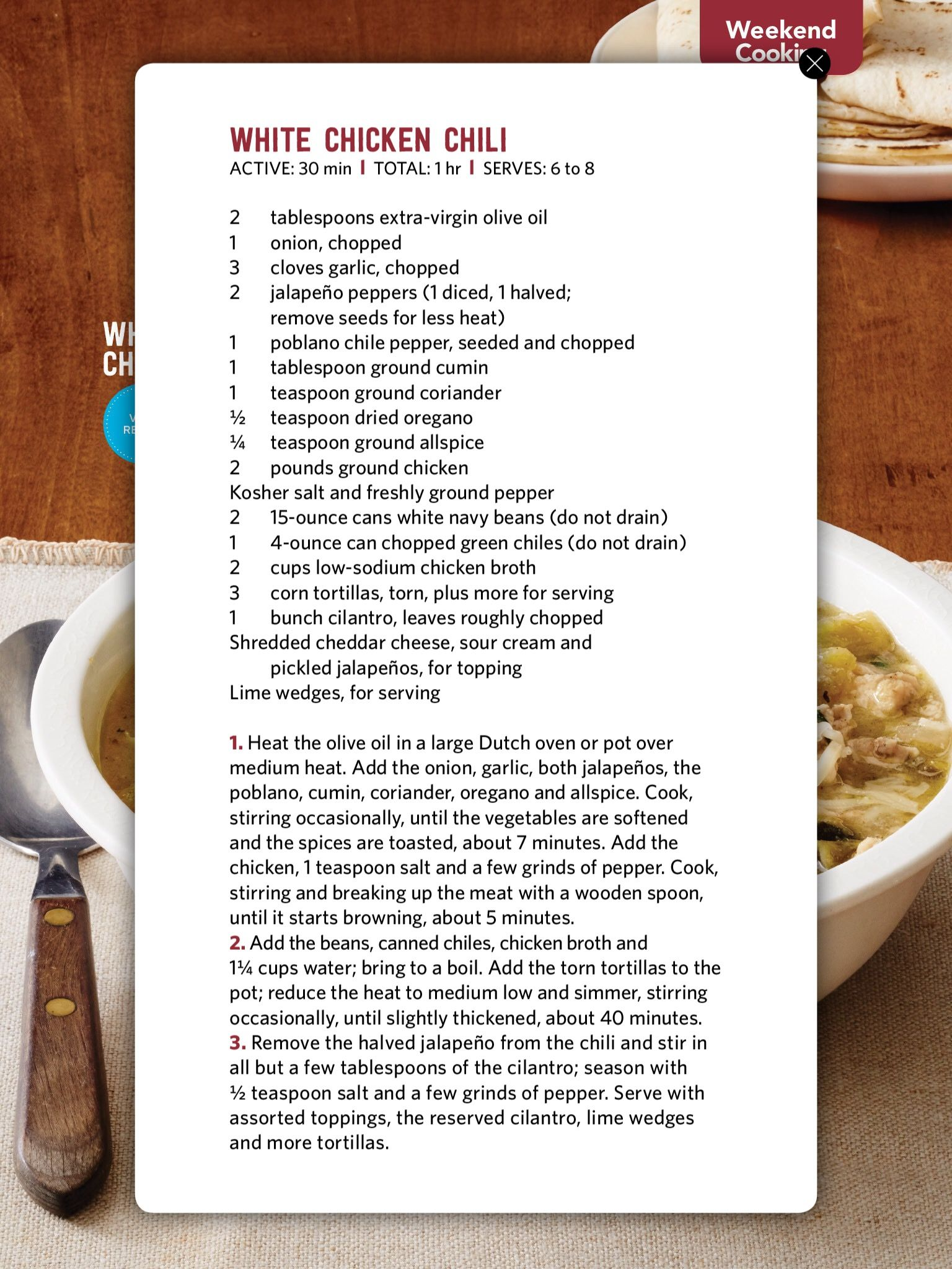 Pin by alison oconnor on food pinterest foods white bean chili white chicken chili white beans magazine stew food networktrisha recipe cards chilis salad recipes forumfinder Choice Image