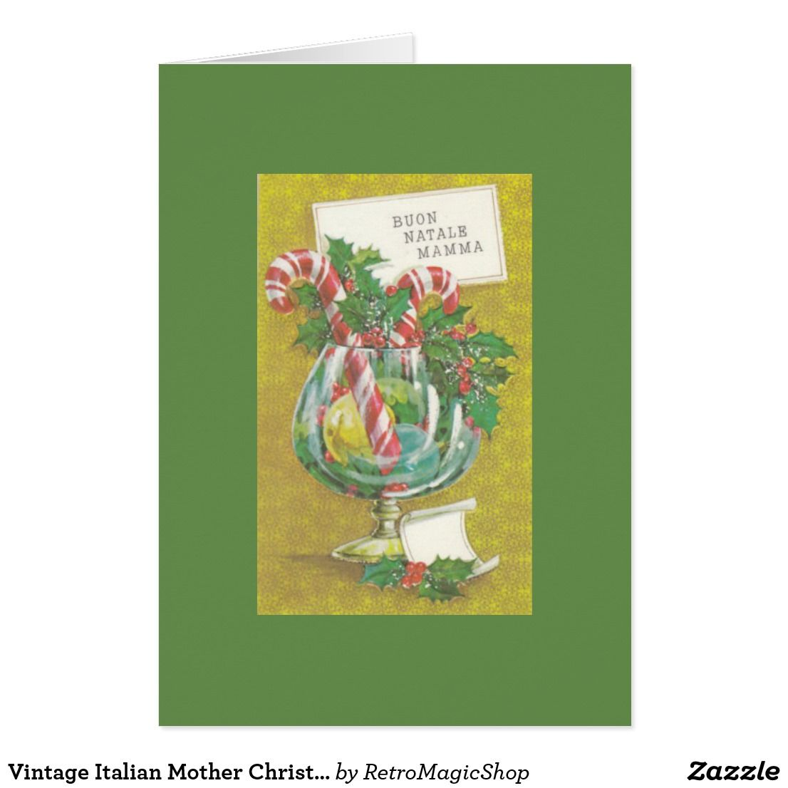 Vintage Italian Mother Christmas Greeting Card Vintage