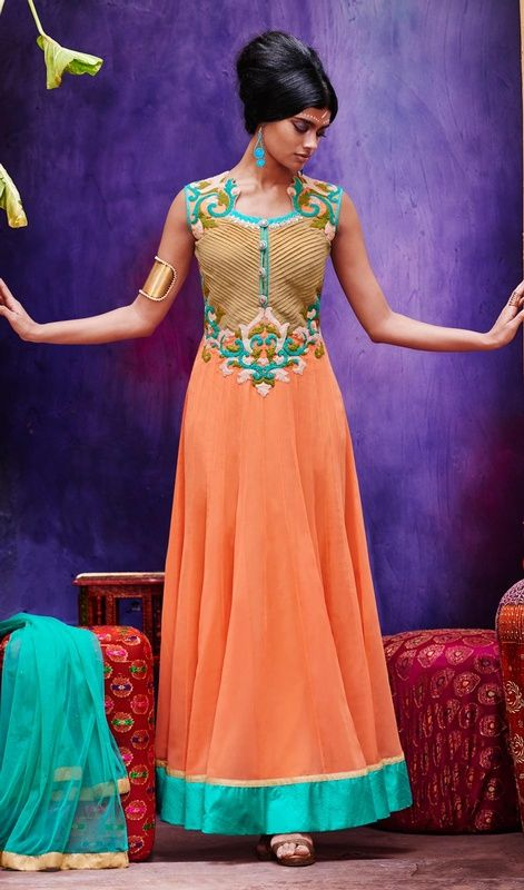 Flaunt your style dressed in this peach puff color tissue and georgette embroidered Anarkali suit. The fantastic dress creates a dramatic canvas with wonderful lace, resham and mirror work. #SuperbPeachReshamWorkAnkleLengthAnarkali