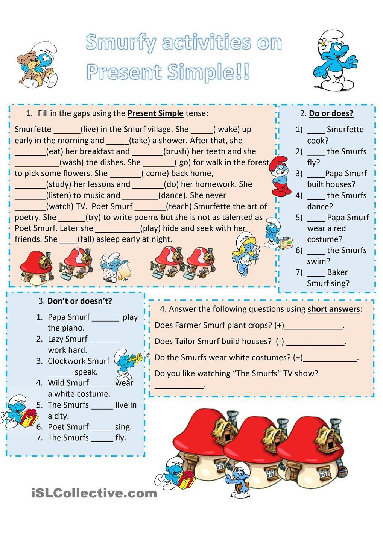 present simple esl worksheets of the day english grammar english worksheets for kids. Black Bedroom Furniture Sets. Home Design Ideas