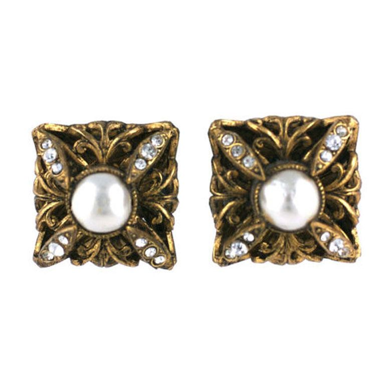 Chanel Pearl and Paste Earrings.1980s