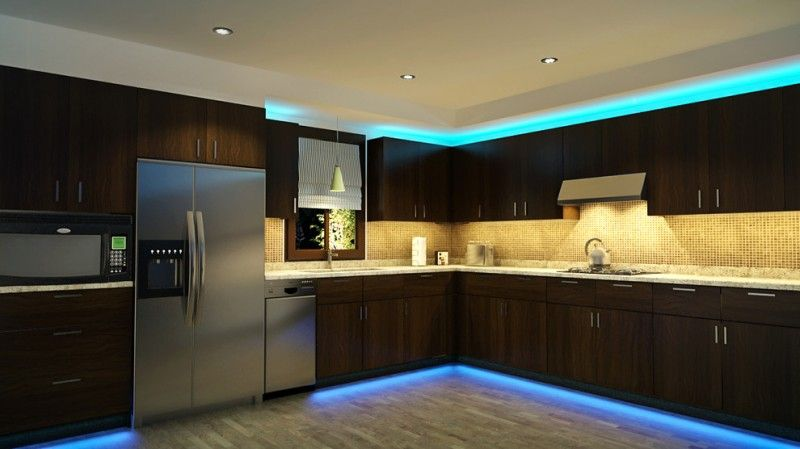 Dark Brown Cabinet In Kitchen With Blue Luminous Led Lighting Of Luminous Glow Above Cabinet Modern Kitchen Lighting Kitchen Led Lighting Interior Lighting