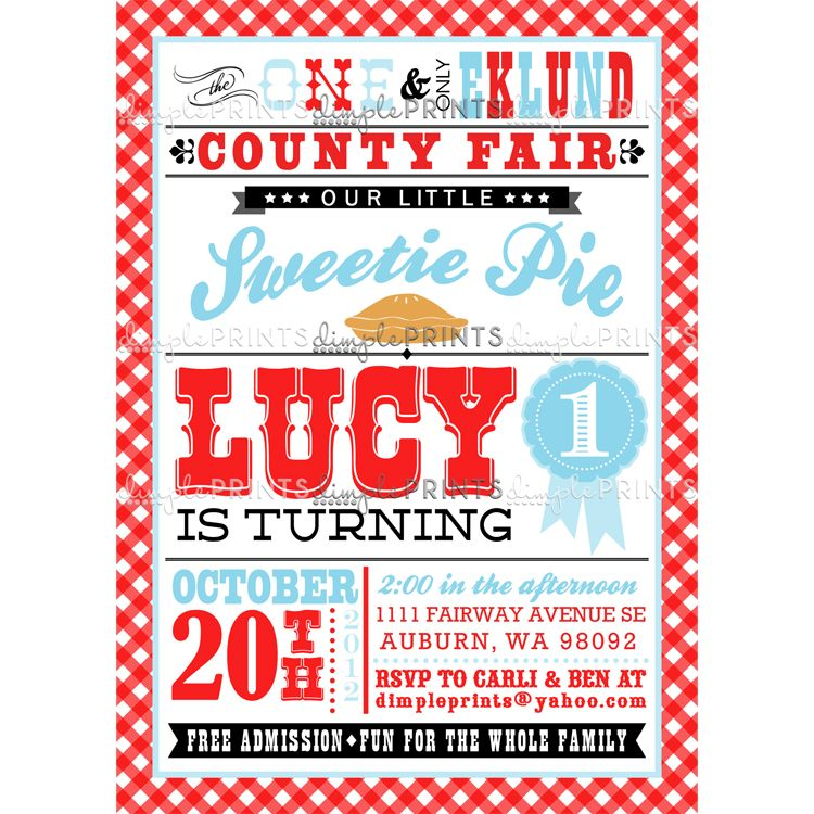 Sweetie Pie County Fair Birthday Party Invite - Dimple Prints Shop