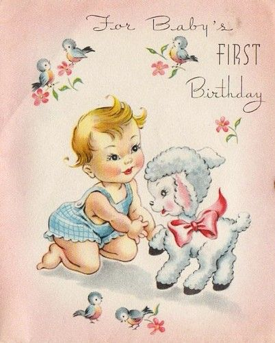 Images Of Vintage Girls First Birthday Card: Cute Vintage 1st Birthday Card With Baby And Lamb