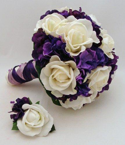 Purple White Bridal Bouquet Bridesmaid Bouquet Real Touch Silk ...