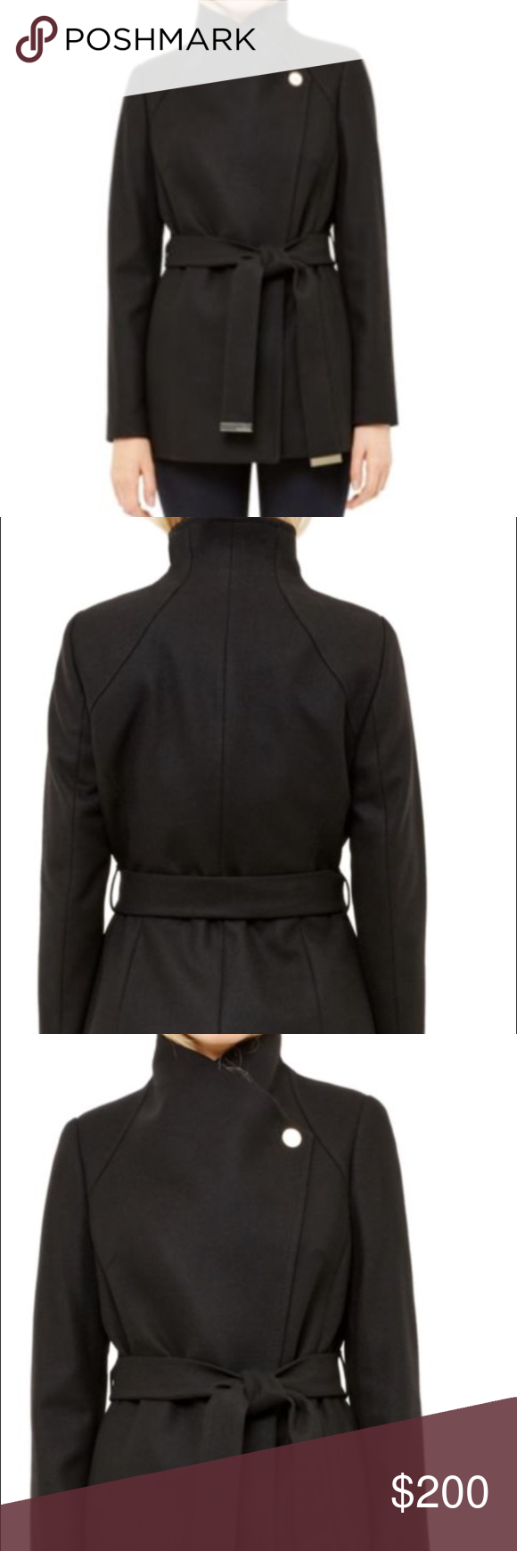 725ecb20b7ecb6 Ted Baker Elethea Short Belted Coat Flattering wrap-around coat with belted  waist