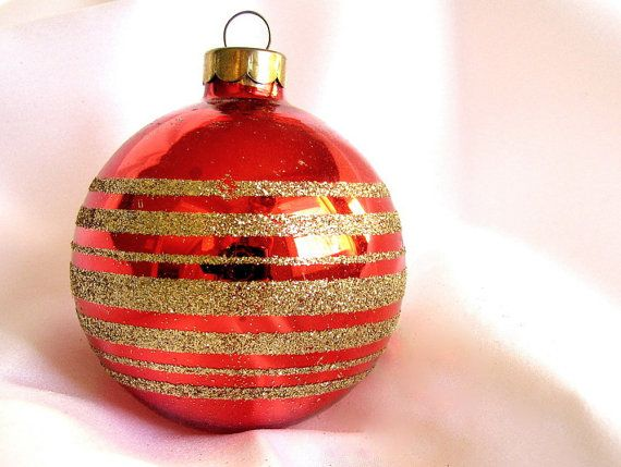 Vintage Red Christmas Ornament Gold Striped Rauch Holiday Ornament Red Christmas Ornaments Christmas Ornaments Vintage Christmas Ornaments