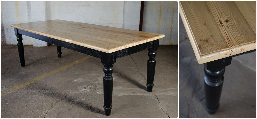 Northcliffantiques Table From Reclaimed Wood With Light Raw Finish Top And Glossy Black Legs Painted Johannesburg Dining Table Black Table Dining Table