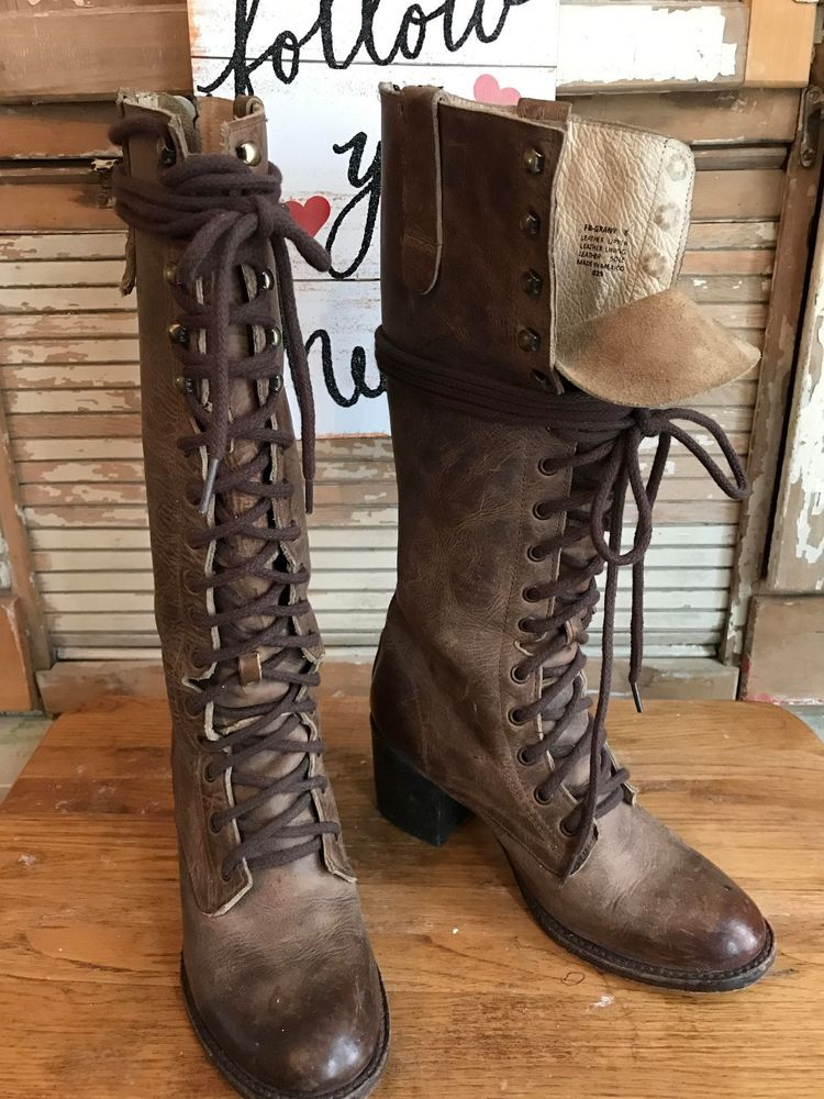 58fcf1008aa Freebird Grany anthropologie Granny free people Grey Brown Combat Boots sz  8