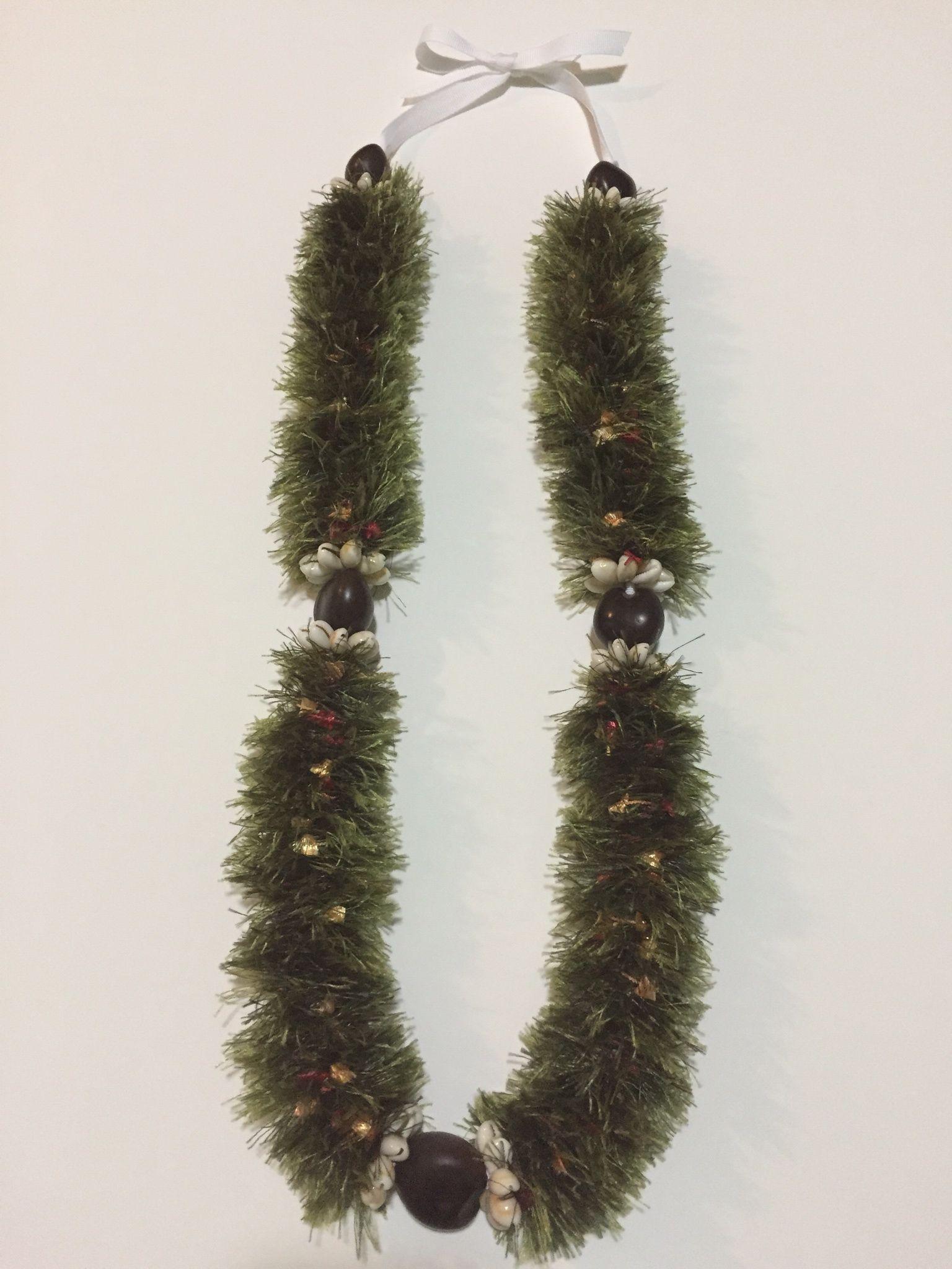 Fern flora wkukui nuts cowrie shells lei christmas