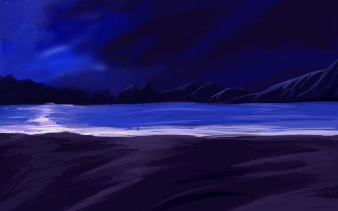 Another Anime Night Beach Bg Anime Cute Backrounds Landscape