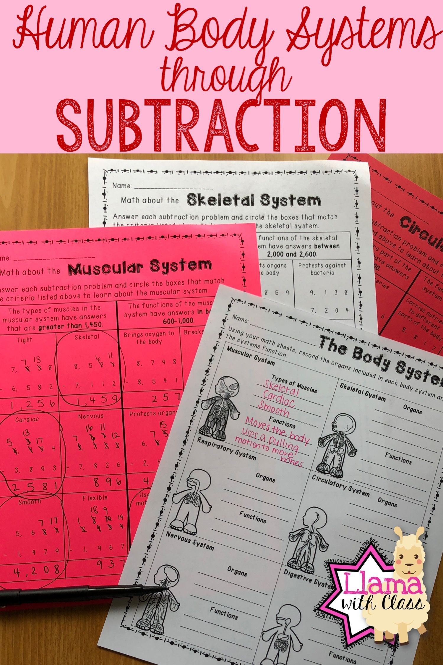 Human Body Systems Worksheets With Subtraction Practice
