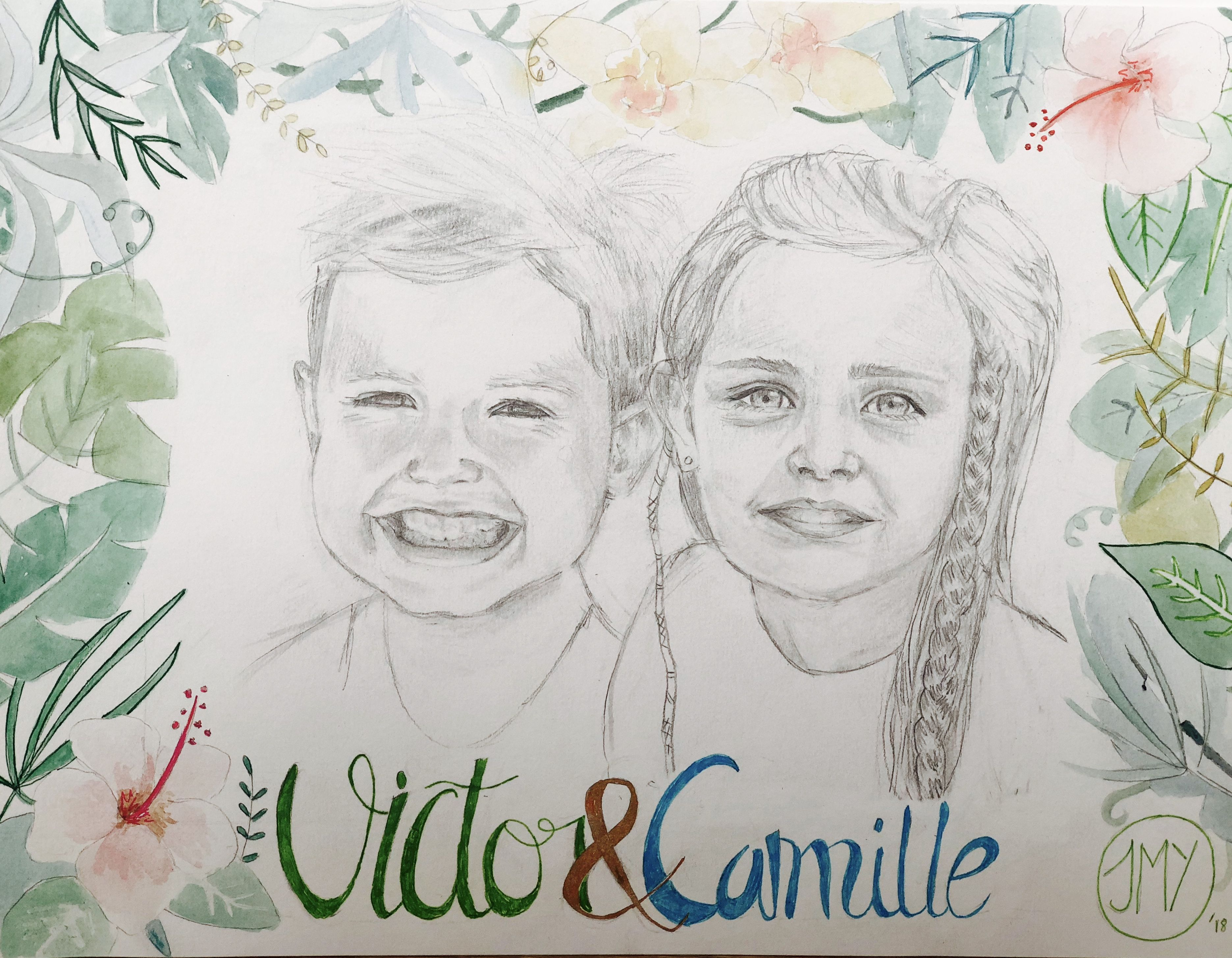 Portrait Personnalise Jungle Aquarelle Et Crayon Illustration