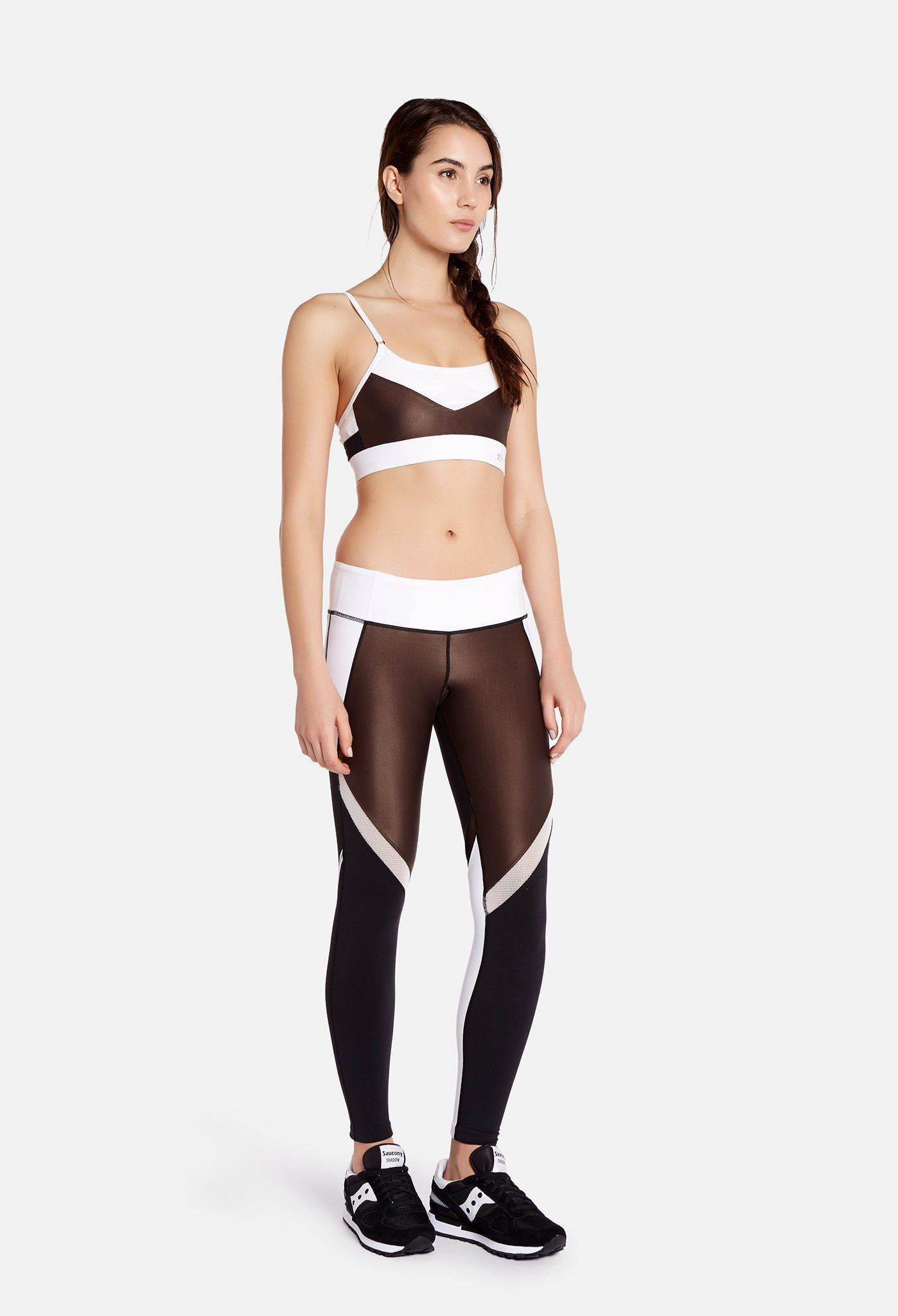 a4b24f68304258 Black, white, and brown, women's tight from with mesh and high gloss  panels. Split59 logo on back on bottom left leg.