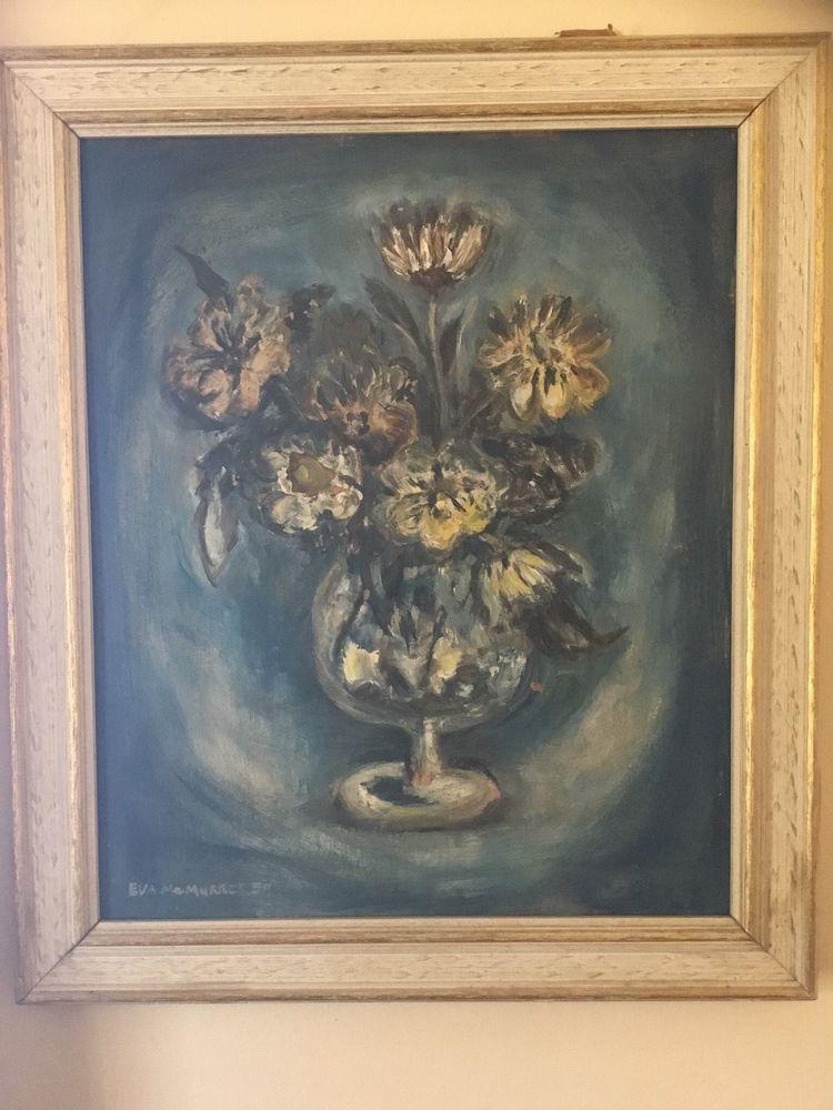 Eva McMurrey Listed Texas Artist Rare Still Life Framed Mid Century ...