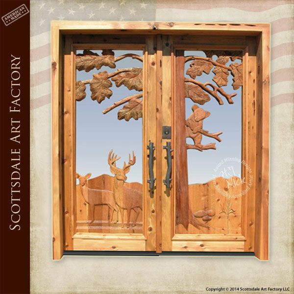 Hand Carved Door - Deer \u0026 Bear Designs carved by hand into this solid wood door by American master woodworkers - double doors custom hardware ... & rustic decor images - Google Search | Doors | Pinterest | Mule deer ...