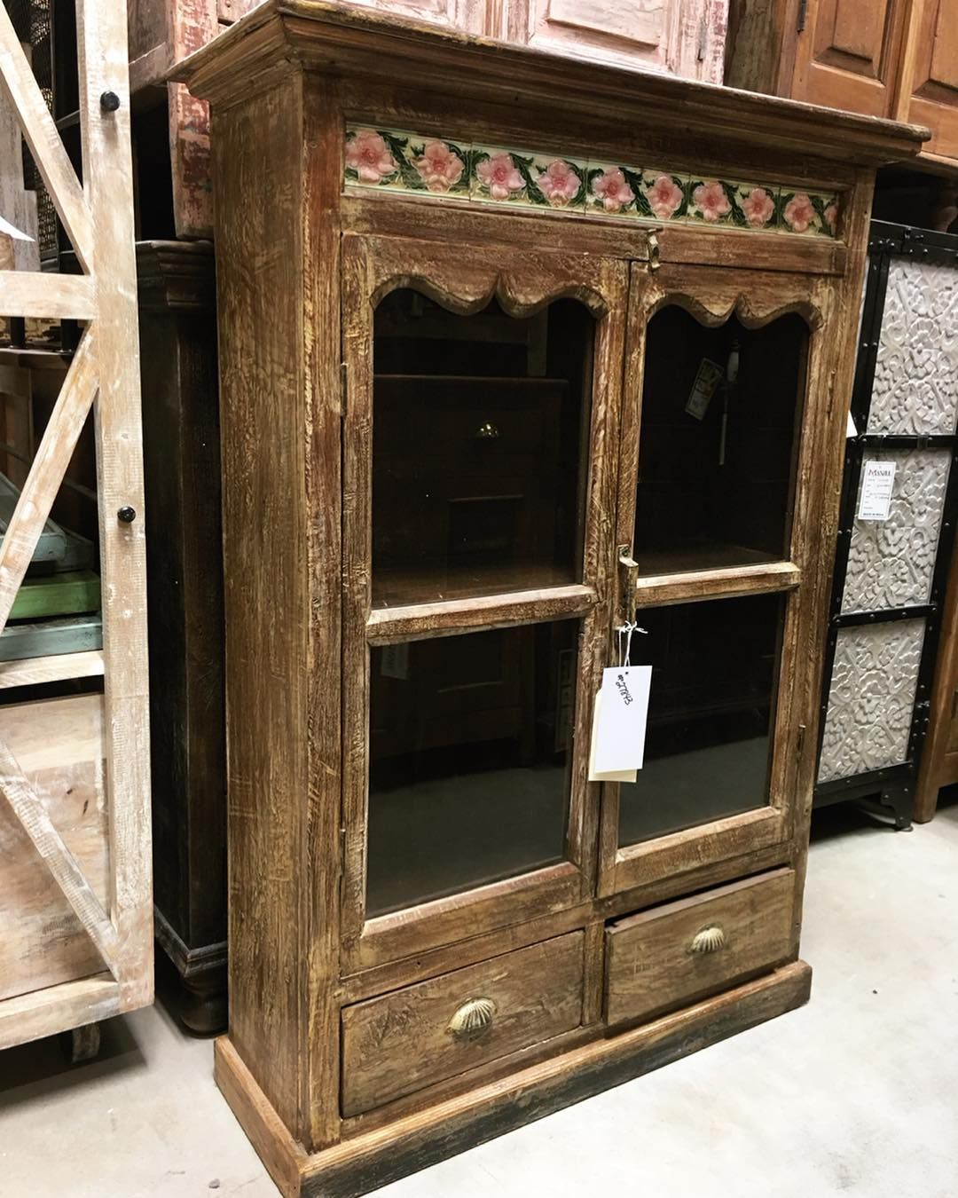 This Reclaimed Cabinet Has Beautiful Hand Painted Tile Set Into The Top To Form A Happy B Beautiful Furniture Pieces Reclaimed Furniture Rustic Wood Furniture