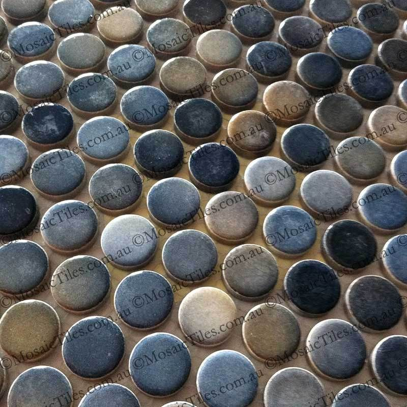 Penny Round Backsplash: Blue Grey Shades Mixed Penny Round Mosaic Tiles