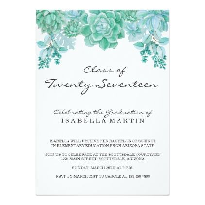 Succulent Graduation Party Invitation  Invitations Personalize