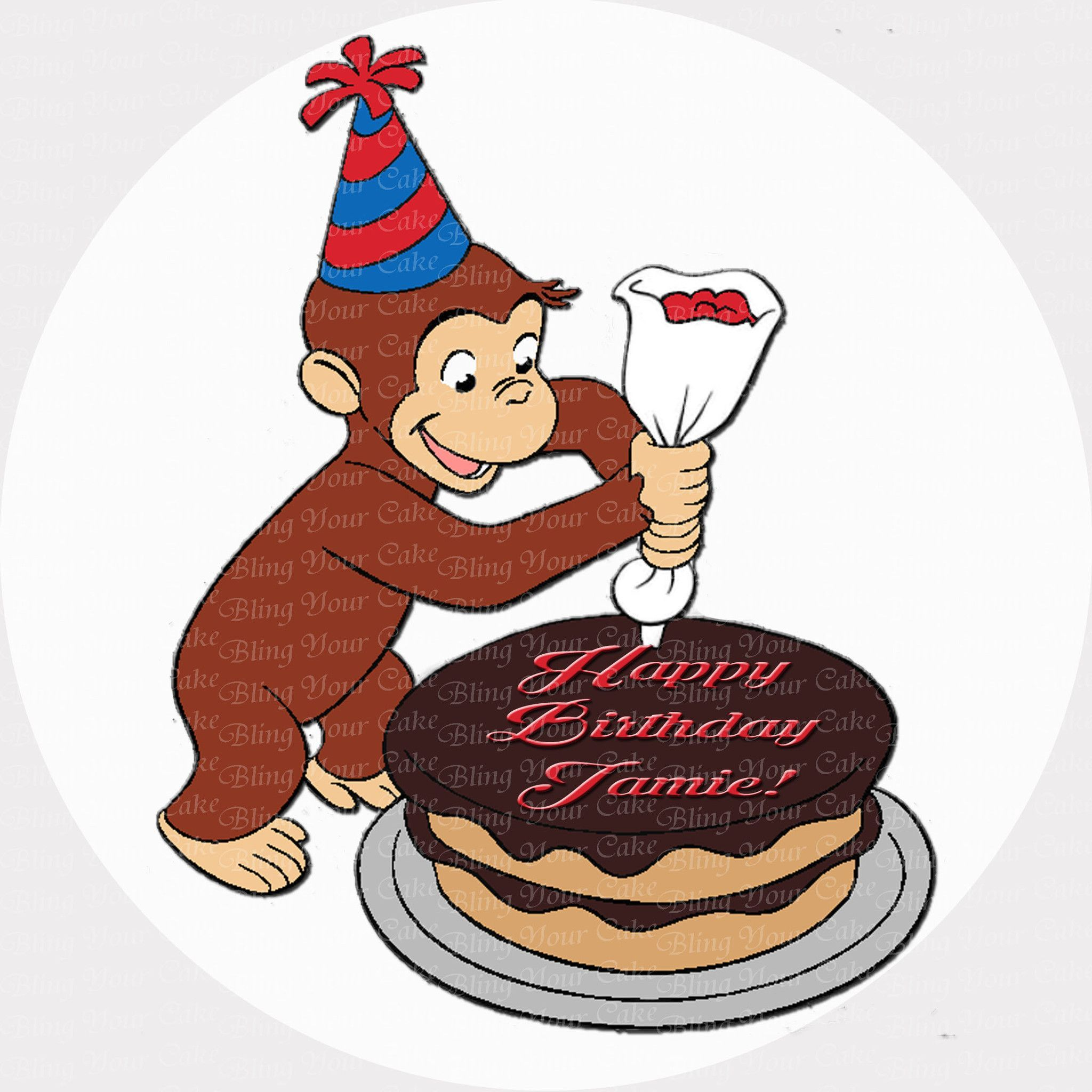 Curious George Decorates A Cake Edible Icing Sheet Cake Decor Topper
