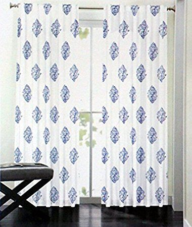 Nicole Miller Set Of 2 Window Panels Damask Medallion Curtains China  Paisley Medallion Royal Blue Navy