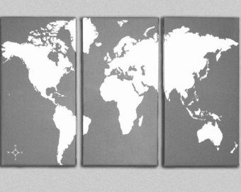 World map canvas giclee triptych grey and white cs new world map canvas giclee triptych grey and white gumiabroncs Choice Image