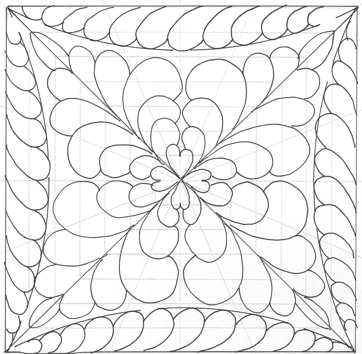 Heirloom Feathers handbook illustration. Easily divide and fill a block design using the square ...