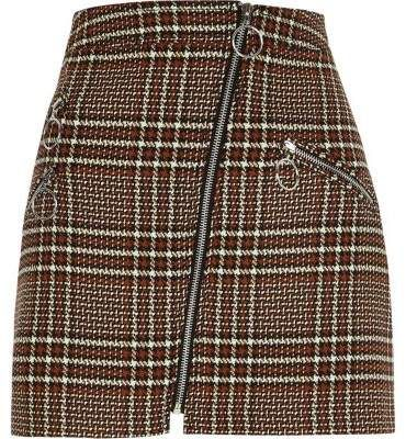 c705c59a9fb33f Brown check zip mini skirt - Mini Skirts - Skirts - women in 2019 ...