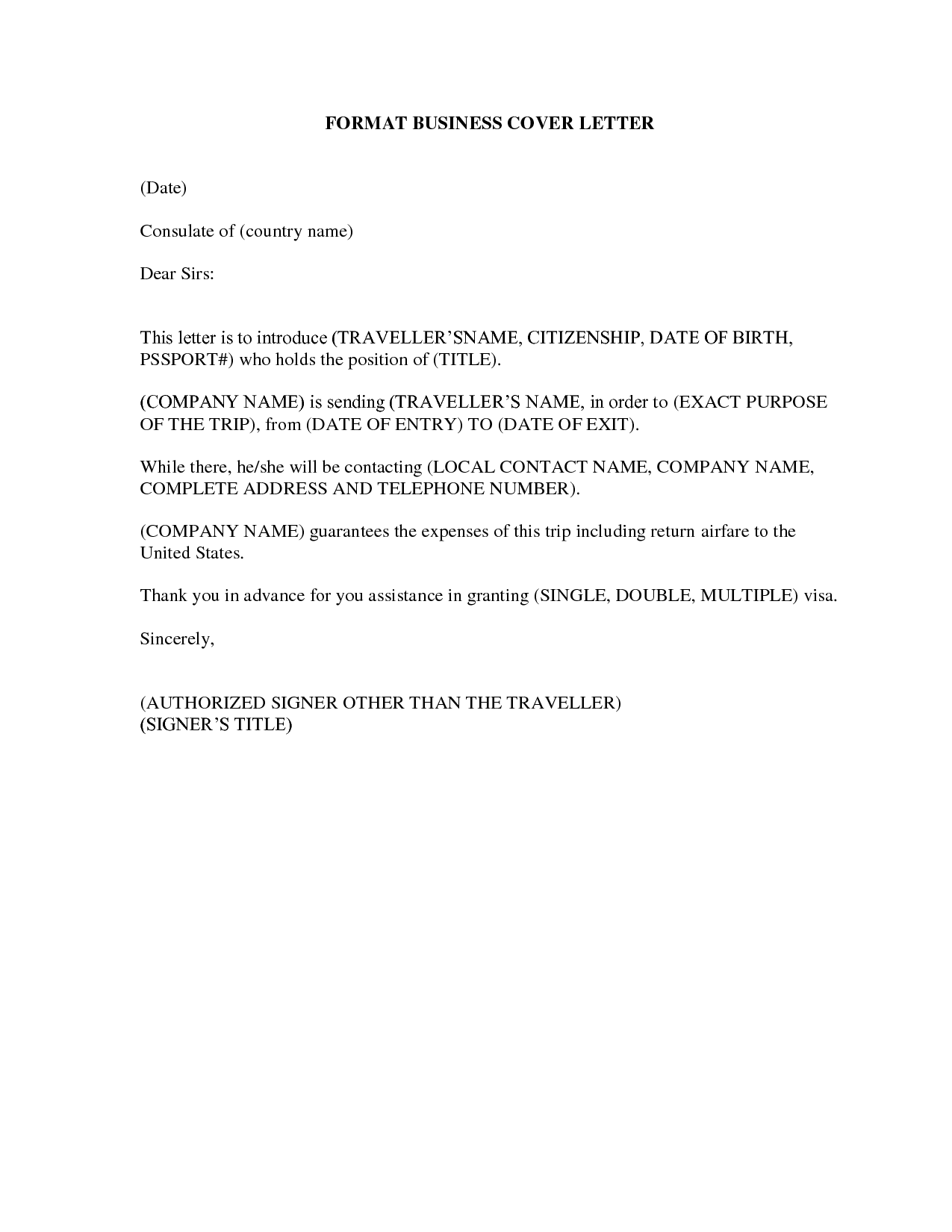 Official Cover Letter Format Formal Business Job Application Basic