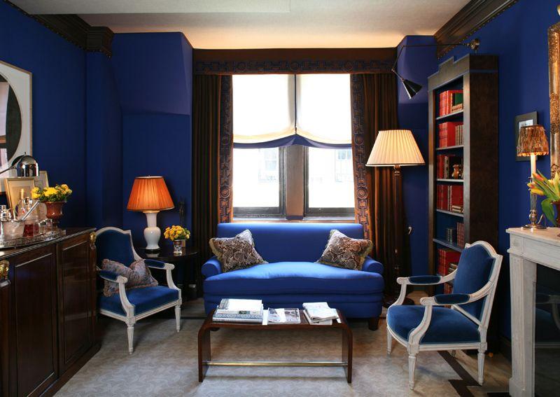 royal blue sitting room  christopher maya design  formal