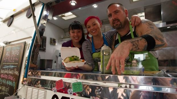 The Lucky Taco team has been giving away free tacos from their van at the Street Food Collective in Ponsonby, Auckland. From left: Ruby White, Sarah Frizzell, Otis Frizzell.