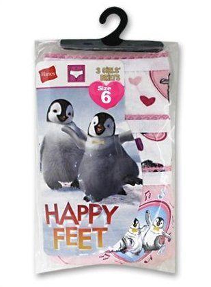 Hanes 3 pk Girls Cotton Briefs Happy Feet Sz 6 GSHP30 Lot of 2 (6 pairs total) Girls Showtoons-Happy Feet Low Rise Brief Fiber Content: 100% Cotton Size 6: 39-49 lbs / 22 inch waist  Total Units: 6 pr (2 3-pks)