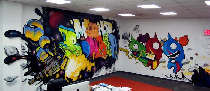 Colorful Wallpaper Painting in Kids Room | Game Room ...